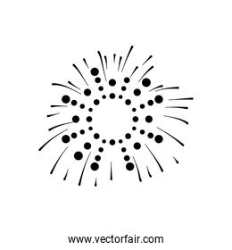 circles and striped firework explosion, silhouette style