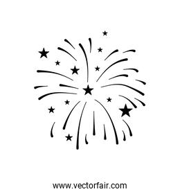 firework burst rays and stars icon, silhouette style
