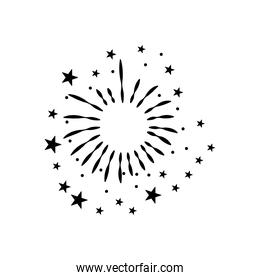 round burst of fireworks with stars, silhouette style