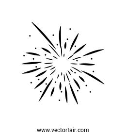burst of fireworks with striped and dots, silhouette style