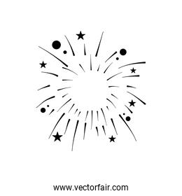 stars and circles fireworks burst, silhouette style