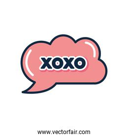 slang bubble concept, pink cloud with xoxo word icon, flat style