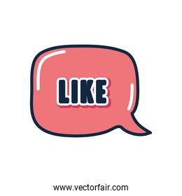 slang bubble concept, pink square bubble with like word, flat style