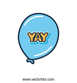 slang bubble concept, blue balloon with yay word, flat style