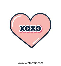slang bubbles concept, pink heart with xoxo word, flat style