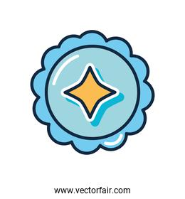 slang bubble concept, seal stamp with decorative icon, flat style