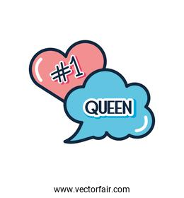 slang bubbles concept, heart and cloud bubble with queen word icon, flat style