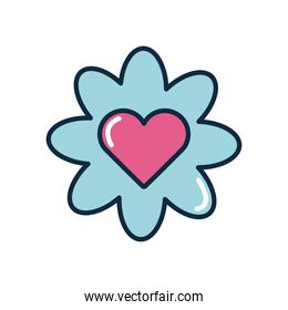 slang bubbles concept, flower with heart icon, flat style