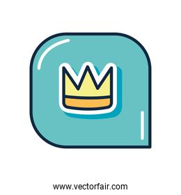 slang bubble concept, speech bubble with crown icon, flat style