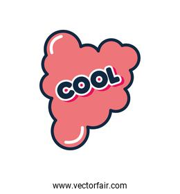 slang bubble concept, red cloud with cool word, flat style