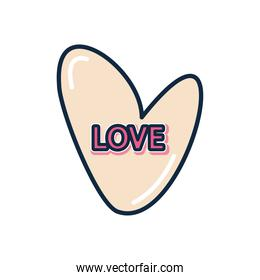 slang bubbles concept, heart with love word, flat style