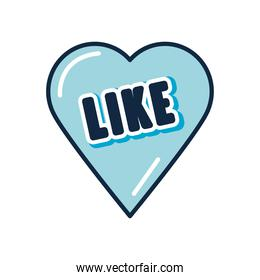 slang bubble concept, blue heart with like word icon, flat style