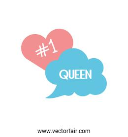 slang bubbles concept, heart and cloud bubble with queen word icon, line fill style