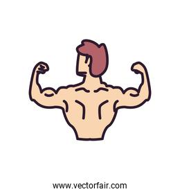 man with muscles backwards line and fill style icon vector design