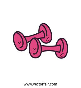 gym weights line and fill style icon vector design