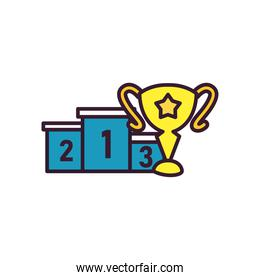 trophy and podium line and fill style icon vector design