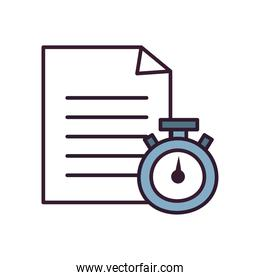 chronometer and document paper line and fill style icon vector design