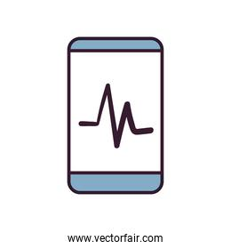 smartphone with pulse line and fill style icon vector design