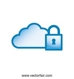 Cloud computing and padlock line and gradient style icon vector design