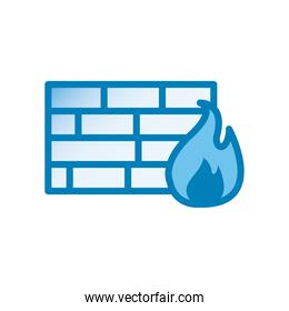 bricks wall with flame line and gradient style icon vector design