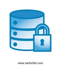 web hosting with padlock line and gradient style icon vector design