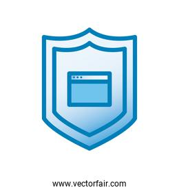 website page in shield line and gradient style icon vector design
