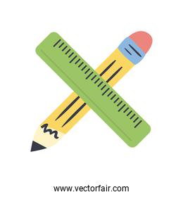 pencil and ruler line and fill style icon vector design