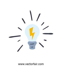 light bulb with thunder line and fill style icon vector design