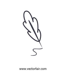 feather pen line style icon vector design