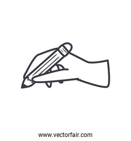 hand holding pencil line style icon vector design