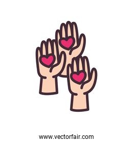 volunteer hands with hearts line and fill style icon vector design