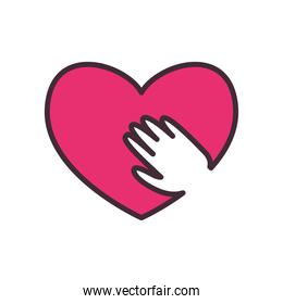 Heart with hand line and fill style icon vector design