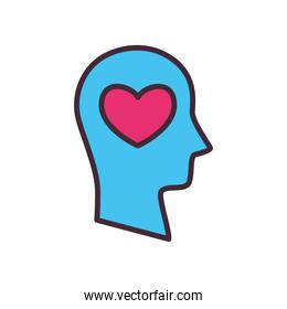 heart in volunteer head line and fill style icon vector design