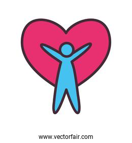 volunteer avatar man with heart line and fill style icon vector design