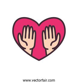 volunteer hands in heart line and fill style icon vector design