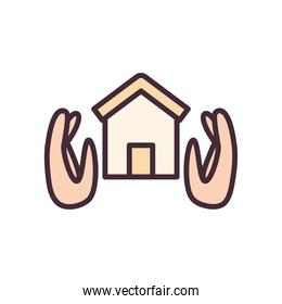 house between hands line and fill style icon vector design