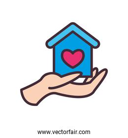 house with heart on volunteer hand line and fill style icon vector design