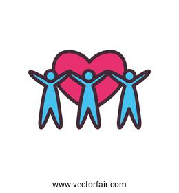 volunteer avatars with heart line and fill style icon vector design
