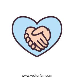 volunteer hands shake in heart line and fill style icon vector design