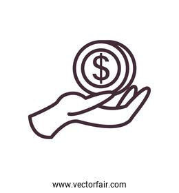 dollar coin over hand line style icon vector design