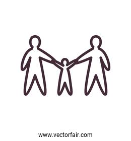 Mother father and kid avatars line style icon vector design