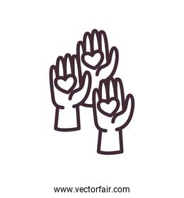 volunteer hands with hearts line style icon vector design