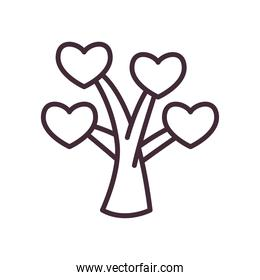 tree with hearts line style icon vector design