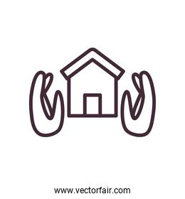 house between hands line style icon vector design