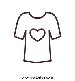 volunteer tshirt with heart line style icon vector design