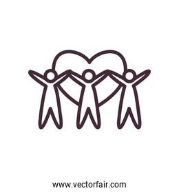 volunteer avatars with heart line style icon vector design