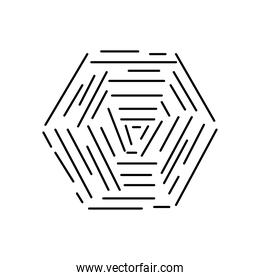 hexagon with striped abstract design, line style