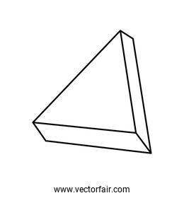 geometric shapes concept, 3d triangle icon, line style