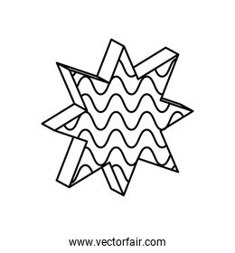 geometric shapes concept, geometric star with wavy lines icon, line style
