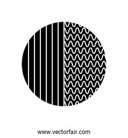 geometric shapes concept, circle with wavy lines and stripes design, silhouette style